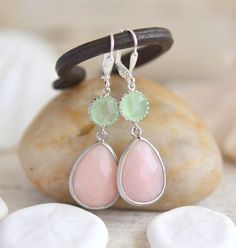 Soft Peach and Mint Bridesmaid Earrings in Silver. by RusticGem