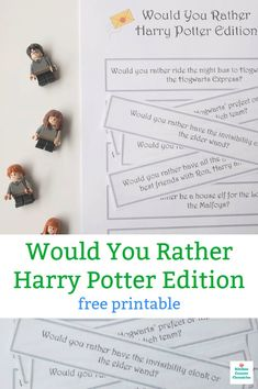A magical Would You Rather Harry Potter game the entire family will love. Perfect for Harry Potter fans of all ages. A free printable game for family game night, the kid's lunch box or fun Harry Potter conversation starters. Harry Potter Free, Harry Potter Games, Harry Potter Wizard, Harry Potter Birthday, Harry Potter Activities, Harry Potter Printables, Preschool Learning Activities, Fun Activities For Kids, Merlin