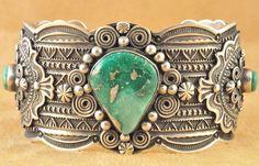 Handmade Navajo S Silver Cuff Bracelet Broken Arrow Variscite Darrell Cadman