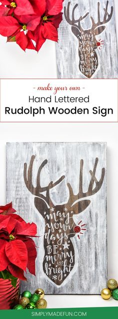Hand Lettered Rudolph Craft - I never realized it was so easy to make a stencil that is larger than your 12x12 Silhouette Cameo mat! This Rudolph craft is a two piece stencil that I pieced together to make one giant design, and I'm giving you the step-by-step instructions so you can do it too.