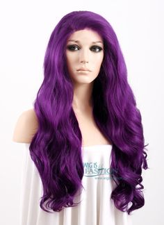 """24"""" Long Curly Wavy Dark Purple Lace Front Synthetic Wig"""