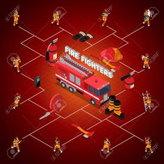 Firefighter isometric flowchart with fireman in different poses situations and professional equipment isolated vector illustration Stock Vector - 68540641