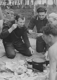 The pioneers of space, the first Soviet cosmonauts Alexei Leonov, Boris Volynov Victor Gorbatenko, and, of course, Yuri Gagarin,at a picnic near Dolgoprudny. 1963