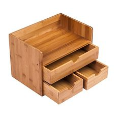 Ancona life Desktop Organizer Mini Desk Makeup Organizer with Drawers Bamboo Brown ** Check this awesome product by going to the link at the image. (This is an affiliate link) Desk File Organizer, Wooden Desk Organizer, Utensil Organizer, Plywood Projects, Small Wood Projects, Desktop Organization, Makeup Organization, Makeup Storage Box, Storage Boxes
