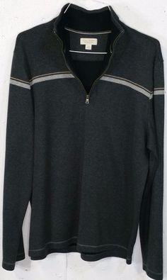 Banana Republic 100% Cotton Grey Long Sleeve 1/4 Zip Pullover Sweatshirt XL…