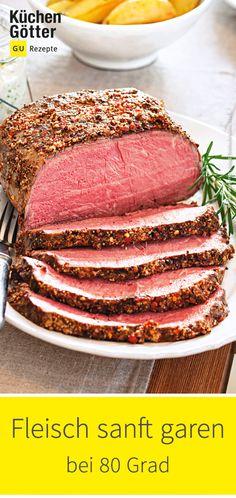 Saftig, zart und voller Aroma: Mit der Niedrigtemperatur-Methode gelingen Fleisch, Wild und Geflügel ganz sicher. Einfach anbraten und dann ab in den Ofen bei 80°. Wir haben die besten Rezepte für dich zusammengestellt.