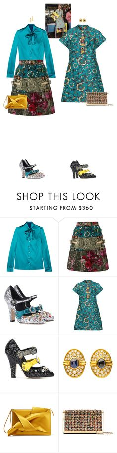 """""""Vespertine & Frederica #9022"""" by canlui ❤ liked on Polyvore featuring Sebastian Professional, Dolce&Gabbana, Harry Winston, N°21, Casadei and Ben-Amun"""