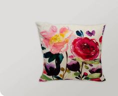 Red Rose Square Linen Pillow