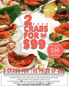Our $99 Promo is back! At the price of $99 for 2 crabs with any cooking style is available from every Monday to Friday dine in only! See you there! Reservations at 62800068 #foodgasm #foodpornsg #food #foodporn #foodie #comfortfood #sgeats #exploresingapore #foodiesg #foodies #foodiegram #foodielife #sgfoodie #sgfoodporn #sgfood #sgfoodies #sgfoodunion #sgfoods #singaporefood #wheretoeatsg #crabparty #crabpartysoshiok #crab #crabs #crabshack  #whati8today #yahoofood #eeeeeats…
