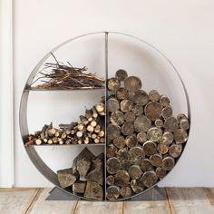 Steel Circle Log Holder in House + Home Fireside + Hearth at Terrain