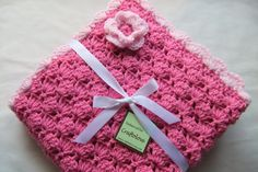 Crib size Bubble Gum Pink Shells Baby Girl Blanket with Flower