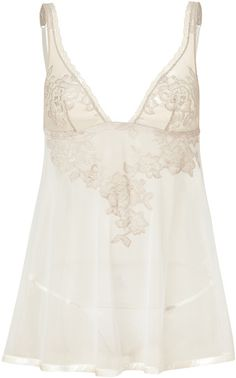 La Perla. Beige and Mink Lace Embroidered Baby Doll Set