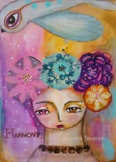 Harmony - girl  bird flowers art mixed media  by SusanaTavares