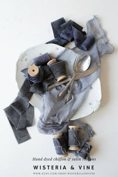 Hand dyed silk chiffon ribbon in black color