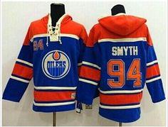 Edmonton Oilers #94 Ryan Smyth Light Blue Sawyer HoodieSweatshirt Stitched NHL Hoodie.
