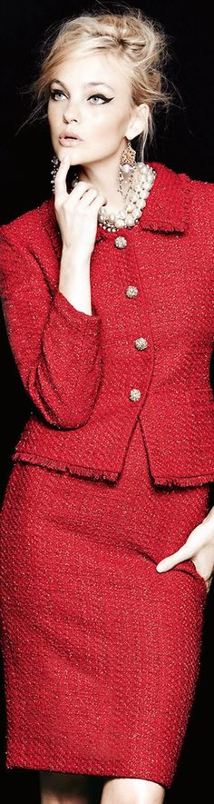 Lady in RED for the Holiday Season / Tahari Metallic Tweed Skirt Suit, RED, Chanel Style
