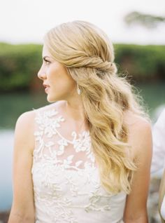 Beautiful bride with a lace wedding dress.