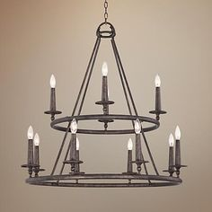 Lamps Plus - (foyer) Quoizel Voyager Wide Malaga Chandelier Family Room Chandelier, Entry Chandelier, Family Room Lighting, Wheel Chandelier, Entryway Lighting, Dining Room Lighting, Chandelier Lighting, Basement Lighting, Dining Room