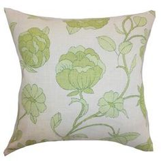 """Green Room - Add a springtime touch to your sofa, bed, or favorite arm chair with this plush pillow, showcasing a contemporary floral motif and chic palette.   Product: PillowConstruction Material: Cotton cover and down fillColor: SpringFeatures:  Insert includedHidden zipper closureMade in the USA Dimensions: 18"""" x 18"""""""