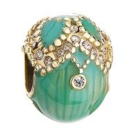 Clover Faberge Egg Bead Drip Gum Lime Clear Crystal Fit sterling 925 Bracelet jf
