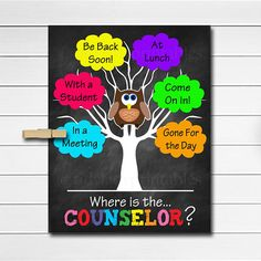 Printable Counselor Door Sign and coordinating counselor office posters to make your counseling office the best place it can be for students! The school counselor posters make a great gift for counselors, therapists or psychologists - especially that work with children! This set of