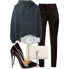 A fashion look from August 2017 featuring adidas Originals hoodies, Yves Saint Laurent jeans and Christian Louboutin pumps. Browse and shop related looks.