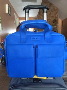 Brand new beautiful blue TaboLap leather laptop bag.
