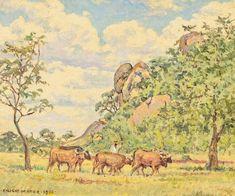 Strauss & Co Cattle, Oil On Canvas, Auction, Landscape, Painting, Instagram, Art, Gado Gado, Art Background