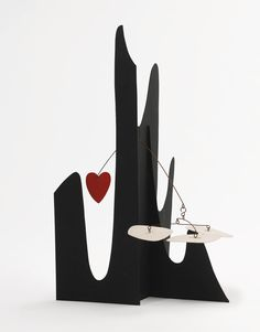 """Alexander Calder """"Crag With Red Heart"""" 1974"""