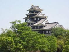 Okayama-jo Castle , Japan Okayama, Air Raid, Amazing Architecture, Palace, Castle, Japan, Mansions, House Styles, Building