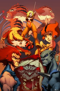 Deviant Artist has created this image in tribute to his favourite children's cartoon, the Thundercats. I think the art style is very reminiscent of Afro Samurai. Cartoon Cartoon, Cartoon Photo, Vintage Cartoon, Cartoon Characters, 1980 Cartoons, Old School Cartoons, Gi Joe, Comic Books Art, Comic Art