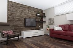 Finium Hecolo Edinburgh mixed wood species wall panels #accentwall #featurewall #livingroomideas #woodwallpanels #timberwall #moderndesign #interiordesign