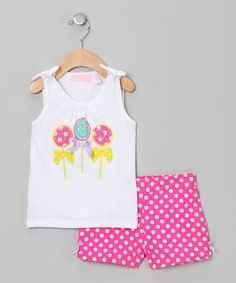 Take a look at this Kids Headquarters White Lollipop Tank & Pink Polka Dot Shorts - Infant on zulily today!