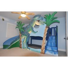 dinosaur bunk beds | Home T-Rex Dinosaur Bunk Bed / Loft Bed / Indoor Playhouse