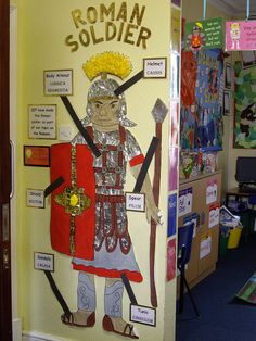 Gurmeet to make a Roman Soldier. Then as we learn more about the Romans, add to the display Ks2 Classroom, History Classroom, Teaching History, Year 4 Classroom, Rome History, Ancient History, European History, History Facts, History Medieval