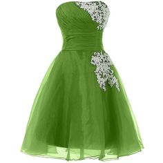Sunvary Organza and Lace Short Homecoming Cocktail Dresses Bridesmaid... ($90) ❤ liked on Polyvore featuring dresses, green homecoming dresses, short lace cocktail dress, short homecoming dresses, green cocktail dress and green bridesmaid dresses