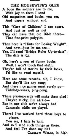 1918: Carolyn Wells (1862-1942), author and one-time librarian for the Rahway (N.J.) Library Association, writes this light verse commemorating the ALA book drive.