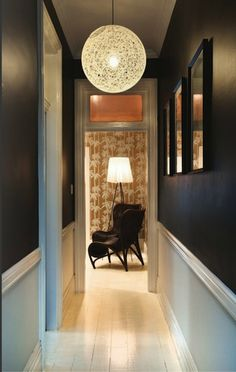 Suddenly I want a narrow hallway! Have a similar light, but the impact is le. Suddenly I want a narrow hallway! Have a similar light, but the impact is less in twice the spa Black Hallway, Long Hallway, Upstairs Hallway, Entry Hallway, Hallway Ideas, Entryway Ideas, Entryway Decor, Hallway Ceiling, Hallway Walls