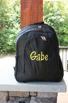 Monogrammed Book Bags for Girls   Boys. School EssentialsKids BackpacksFashion  BackpackBlack BackpackBack To SchoolKid StuffMonogramMonogramsSchool  Supplies e72ca94239197