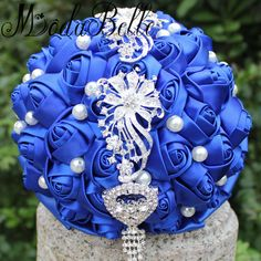 >> Click to Buy << Modabelle Artificial Bridal Bouquets Royal Blue Wedding Bouquets With Crystal Pearls Satin Roses Brides Bouquet De Mariage 2017 #Affiliate