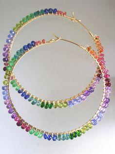 Rainbow Gemstone Gold Filled Hoops Vibrant by bellajewelsII Bead Jewellery, Beaded Jewelry, Jewelery, Bead Earrings, Gemstone Earrings, Silver Earrings, Diy Accessoires, Handmade Wire Jewelry, Diy Schmuck