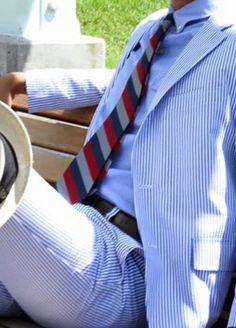 Seersucker suit, light blue OCBD, red, navy, & grey stripe tie