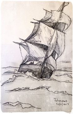 """Skip"" / ""Ship"", Scetch by Johannes, Medium: Pen & Pencil on Paper. - ""Skip"" / ""Ship"", Scetch by Johannes, Medium: Pen & Pencil on Paper. Boat Drawing, Ship Drawing, Painting & Drawing, Drawing With Pen, Ship Sketch, Pen Sketch, Boat Sketch, Pencil Art Drawings, Art Drawings Sketches"