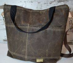 DSLR Camera bag - Espresso Brown waxed canvas - faux leather, lightweight, vegan by Darby Mack Made in the USA, waterproof, in stock by DarbyMack on Etsy