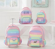 Large Backpack, Fairfax Rainbow Multi with Aqua Trim, Pirate Ship