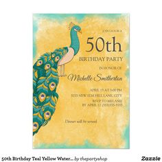 Shop Birthday Teal Yellow Watercolor Peacock Invitation created by thepartyshop. 60th Birthday Party Invitations, 75th Birthday Parties, 90th Birthday, Peacock Birthday Party, Watercolor Peacock, Teal Yellow, Custom Invitations, Women, 30th