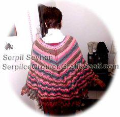 Colorful ponchos: knitting crochet poncho designs cheerleader edges 36-3 Renkli pancolar: Tig isi ponpon kenarli orgu panco tasarimlari