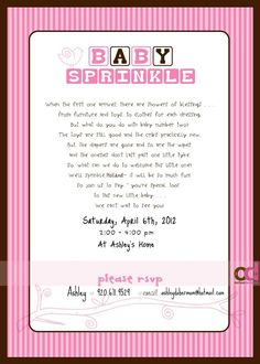 Baby Sprinkle Invitation;  love this idea!