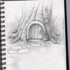 hobbit home Faser Kunst Landscape Pencil Drawings, Pencil Art Drawings, Simple Landscape Drawing, Creative Pencil Drawings, Pencil Drawing Tutorials, Landscape Sketch, Sketchbook Inspiration, Art Sketchbook, Inspiration Drawing
