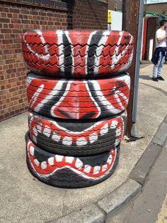 Tribal Tyre #reuse #recycle #repurpose #tyres #tire #diy #makeit #car #garden #plant #aboutthegarden